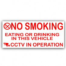 2 x Vehicle External Stickers-No Smoking,Eating,Drinking,CCTV In Operation-Car,Van,Lorry,Truck,Coach Warning Sign